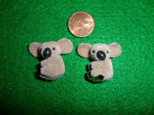 2 Vintage Flocked Minature Koala Bears