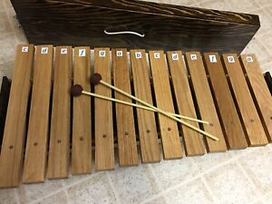 Hand-made oak Orff xylophone with mallets