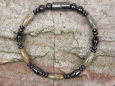Silver Leaf Jasper Bi-Cone Magnetic Hematite Necklace Bracelet Anklet -