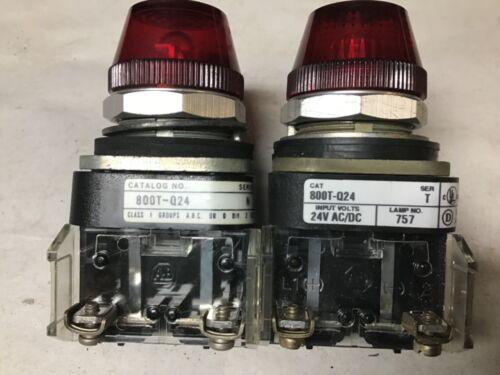 Allen-Bradley 800T-Q24 Red Pilot Light 24 Volt AC/DC-Lot of 2