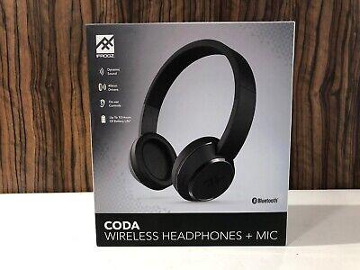 iFrogz Coda Wireless Bluetooth Headphones & Built-In Mic Black  iPhone/Samsung