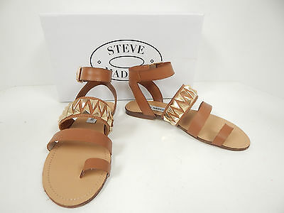 Steve Madden Curlyy Cognac Leather Flat Ankle Strap Sandals w/ Gold (Steve Madden Gold)