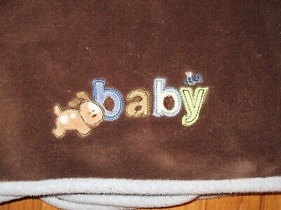 Carter's Just One Year Puppy Dog Bee Brown Blue Fleece Baby Blanket Plush