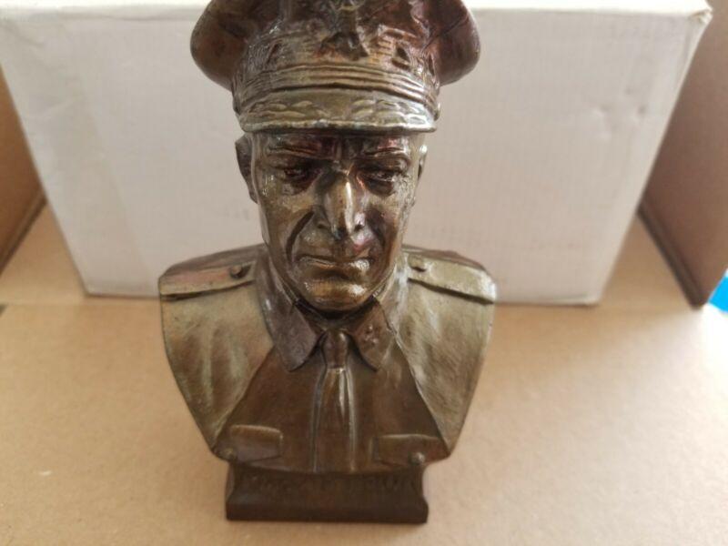 Vintage still bank bust of General MacArthur pot metal