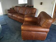 Leather brown lounge sofa luxury Springwood Logan Area Preview