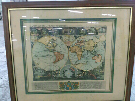 Framed world map in melbourne region vic gumtree australia free old world map professionally framed gumiabroncs Image collections