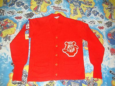 Vintage Red and White Band Six Flags Acrylic Letterman Sweater Adult Size S