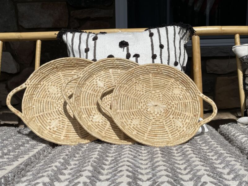 Set of 3 SEAGRASS SERVING TRAYS BOHO CHIC WALL DECOR