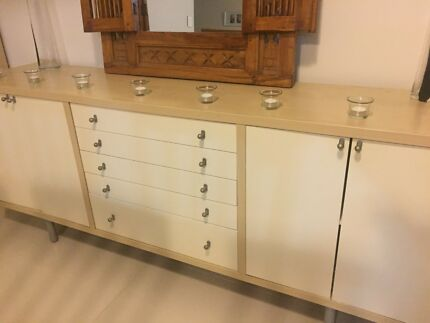 Light Timber And Off White Display Cabinets Buffet