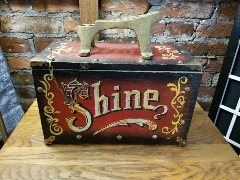 "VTG Shoe Shine Box Vintage Wood & Metal "" 5 Cent SHINE""  circus theme lettering"