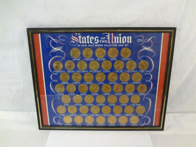 States Of The Union 50-State Solid Bronze Medal Framed Coin Set Shell