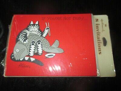 HALLMARK Vintage SET Of 8 B. KLIBAN CAT Party INVITATIONS & ENVELOPES - 1980's
