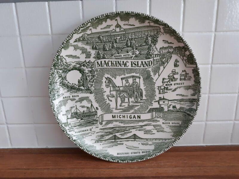 Green and white transferware Mackinac Island collector plate
