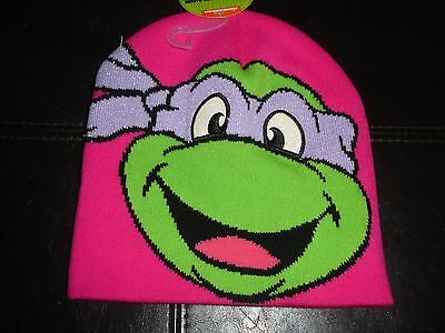 TMNT Teenage Mutant Ninja Turtles girls ONE SIZE knit hat Donatello Pink glitter