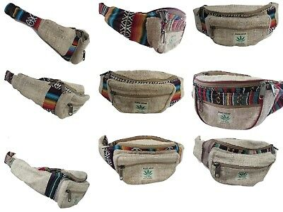 Big Pocket Hemp THC Bum Bag Utility Belt Money Fanny Pack Festival Hippy Boho - Hemp Zip Pouch