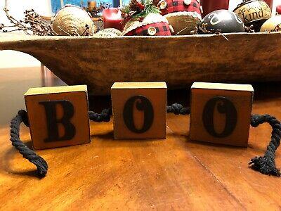 Boo Halloween Signs (Wood Block Halloween Sign Says