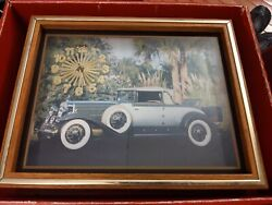 VTG FRAMED CLOCK PICTURE UNDER GLASS CLASSIC rolls Royce? Palm tree TESTED WORKs