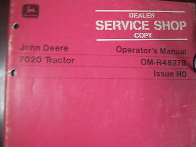 John Deere Tractor Operators Manual 7020 Tractor Issue H0
