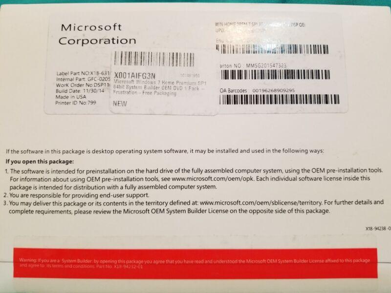 GFC-02726 Windows 7 Home Premium 32bit SP1 OEM New Packaging Windows GFC-02726