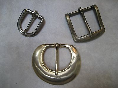WOMEN'S VINTAGE BELT BUCKLES ~ GOLD, ANTIQUE GOLD AND SILVER FINISHES ~ LOT OF 3