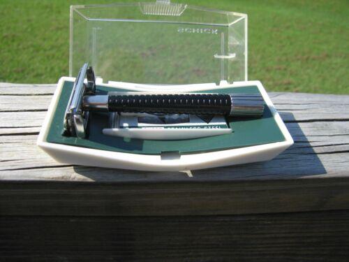 Beautiful Schick Krona Black Handle Silver Tone DE Safety Razor w/Original Case
