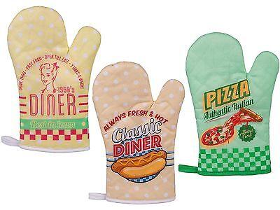 Topfhandschuhe Ofenhandschuhe Handschuhe Topflappen Backofen Grill Vintage Retro - Topflappen