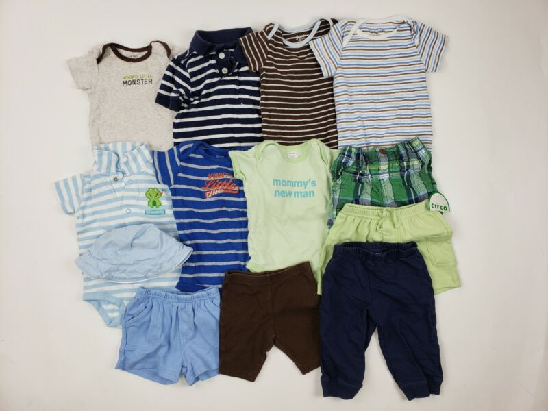 6-9 & 6-12 Months Boy Oshkosh Carters Circo Etc Clothes Lot Plaid