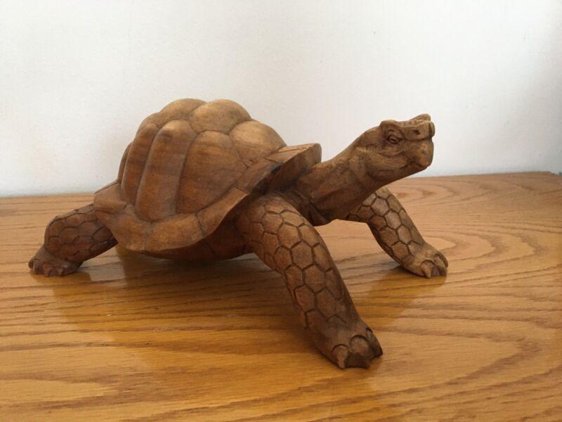 Large Wooden Tortoise Turtle Statue Hand Carved Sculpture Wood Decor Figurine