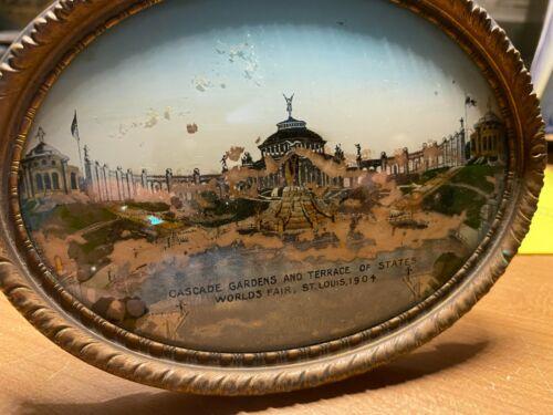 Vintage Cascade Gardens Worlds Fair St Louis 1904 Picture and Frame Souvenir