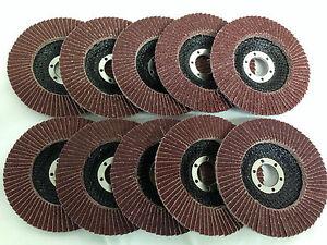 10 X 115mm 80 Grit Aluminium Oxide Flap Discs, 4 1/2