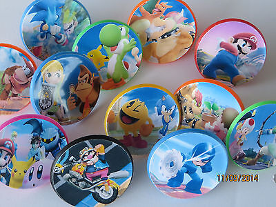 12 Super Smash Bros ring cupcake toppers - birthday party favor 3ds WiiU pinata