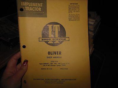 Oliver Super 99gmtc 950 990 995 770 880 Tractor Shop Service Manual Book O13