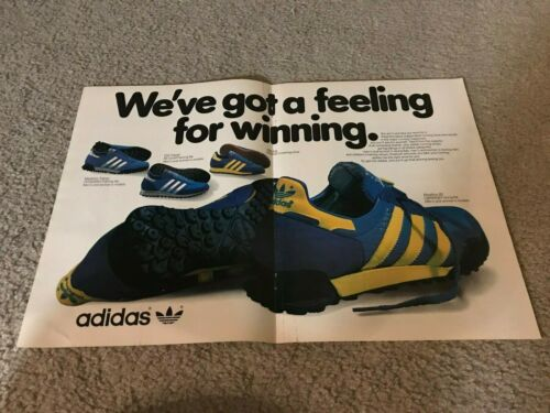 Vintage 1980 ADIDAS MARATHON 80 TRAINER TRX Running Shoes Poster Print Ad RARE