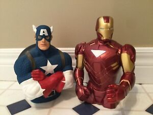 Marvel Captain America, and Iron man bust bank