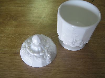 "Vintage Westmoreland Paneled Grape Milkglass Covered Candy Dish Bowl-6 1/2"" Tall"