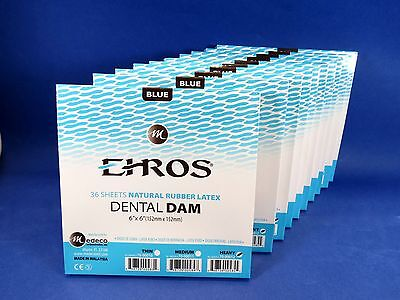 Dental Natural Rubber Dam Blue Heavy 6 X 6 Sheets Latex Kit 10 Box