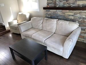 Sofa, coffee table and reclining chair