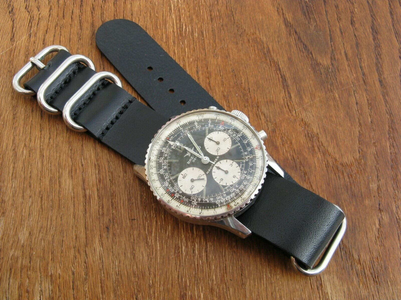 Black Leather 'Nato-Zulu'-Style Watch Strap Band 22mm