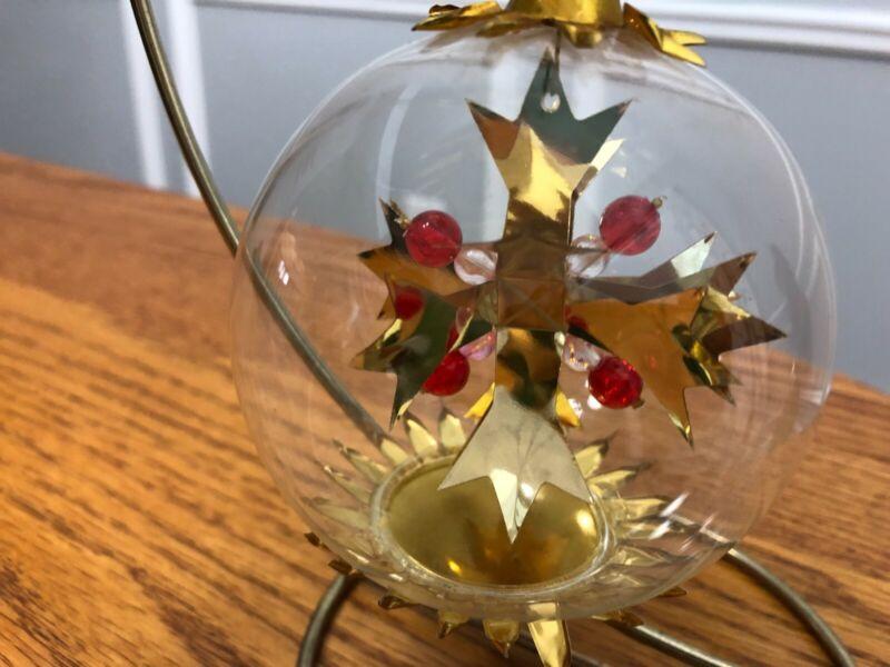 Resl Lenz Clear Glass Christmas Ornament Globe w/ Gold Foil West Germany & Bead