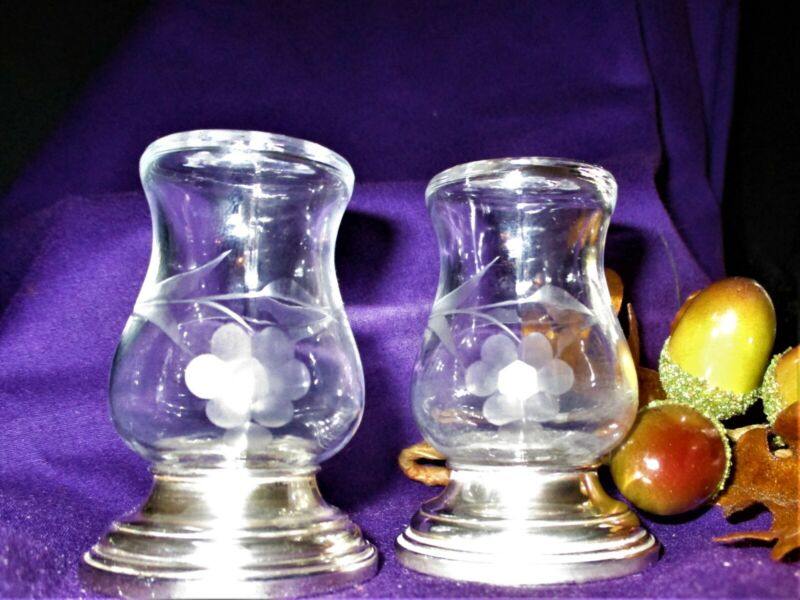 Vintage etched crystal and sterling Salt and Pepper shakers