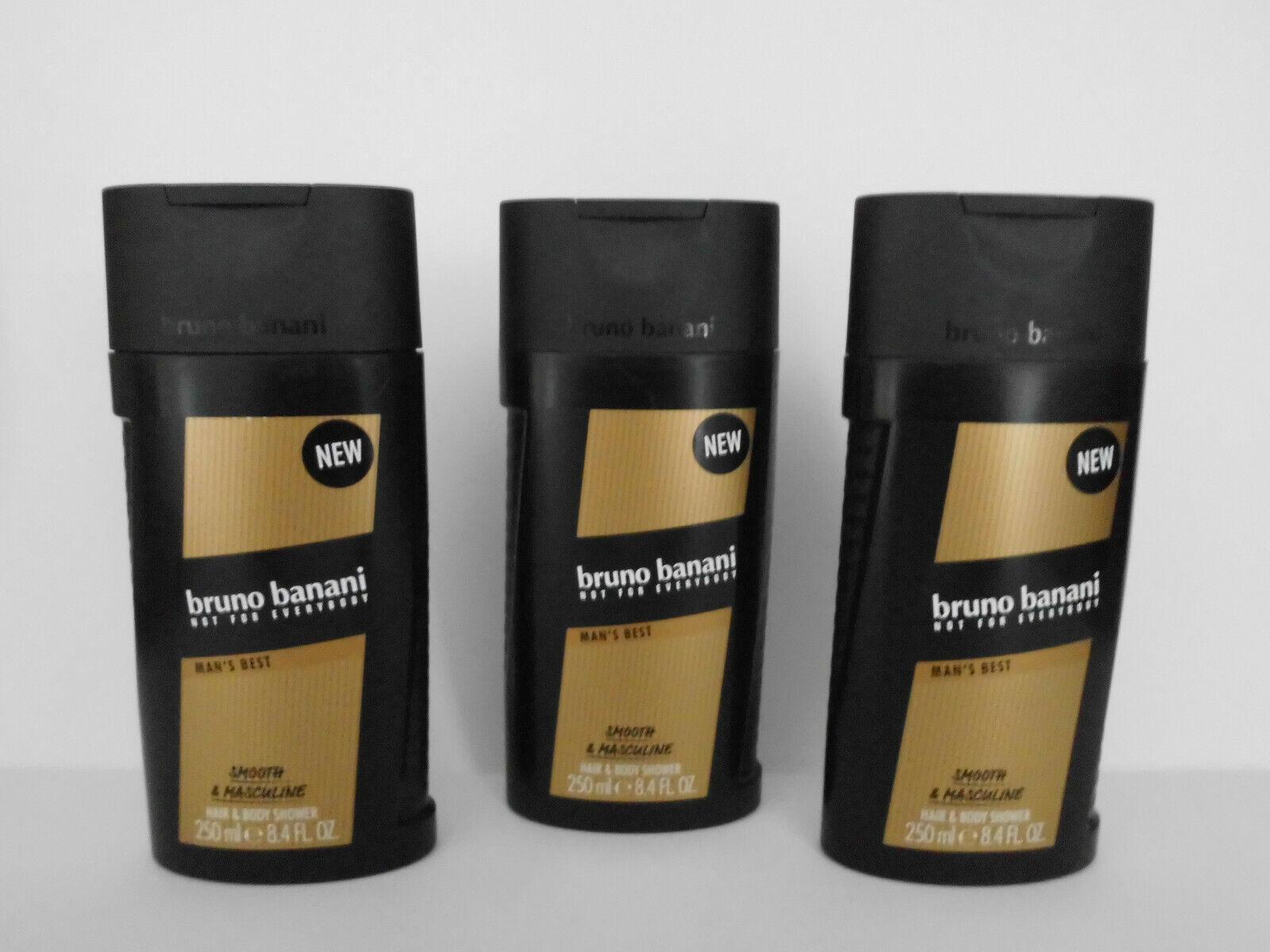 bruno banani MAN`S BEST Duschgel Hair & Body Shower  3 x 250 ml = 750 ml