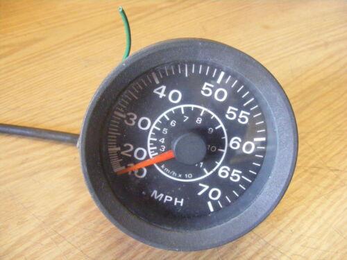 "OMC Outboard Boat Gauge 4"" Speedometer 0-70 MPH Black Face Meter"