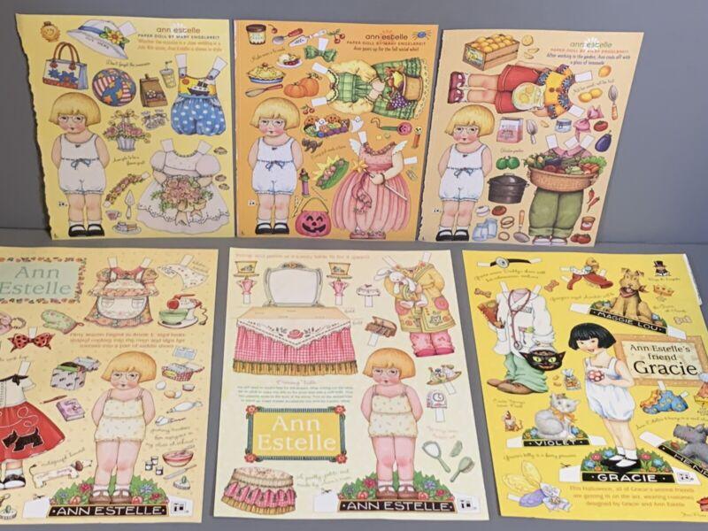 "Mary Engelbreit Magazine Paper Dolls ""Ann Estelle"" & ""Gracie"" 6 Sheets Uncut"