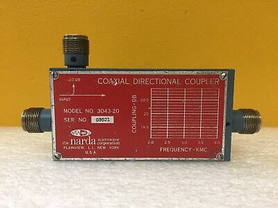 Narda 3043-20 2 To 4 Ghz 20 Db 500 Watts Type N F Directional Coupler. Tested