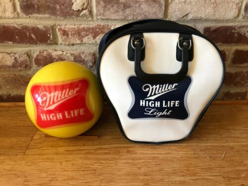 Miller High Life undrilled bowling ball and matching bag