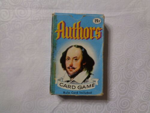 Vintage Authors Card Game Whitman No. 4110 Complete Deck Of 44 Plus Rule Card