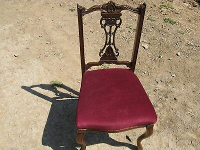 Damaged Antique Edwardian Solid Wooden Side Chair for Upholstery/Restoration Pro