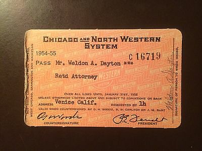 Chicago and North Western Railway System 1954-55 railroad pass