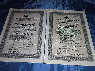 428 : 2 x Wertpapier , Preußen , Pfandbrief ,15. April 1937 , 100 + 500  R.-Mark