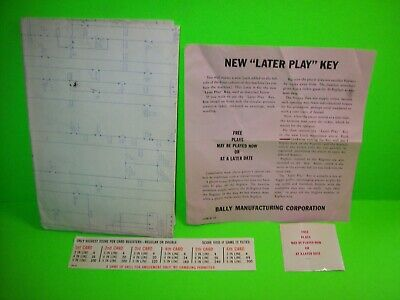 STOCK MARKET Bingo Game Pinball Machine Wiring SCHEMATIC Bally 1972 Plus Extras